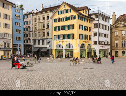 Zurich, Switzerland - September 28, 2017: Munsterhof square in the historic center of the city of Zurich. Munsterhof is a town square, the largest one - Stock Photo