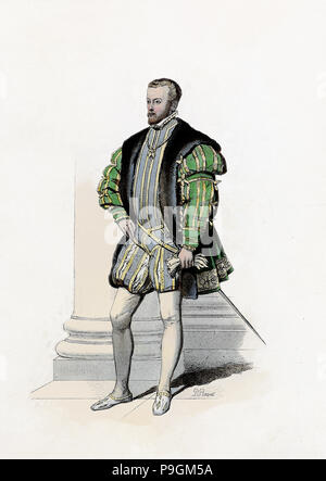 Philip II, king of Spain. (Valladolid, 1527-San Lorenzo del Escorial, 1598), son of Charles I, en… - Stock Photo