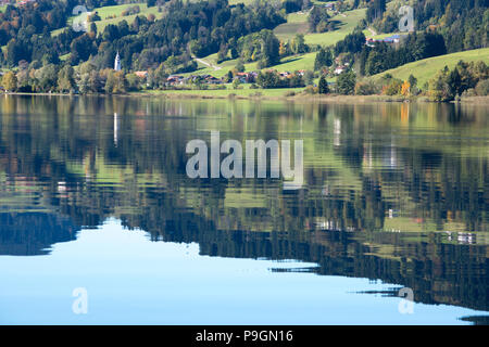 Reflection on Niedersonthofener See - Stock Photo