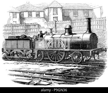 M'Connells British locomotive machine, presented at the Exposition Universelle in Paris, June 1855. - Stock Photo