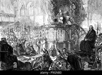 Hus, John (1371-1415), Czech religious reformer and writer, Bishop of Lodi preaching during the t… - Stock Photo