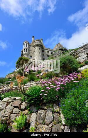 St michael's mount castle and gardens,Karrek Loos yn Koos,Marazion,Cornwall,England,uk - Stock Photo