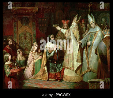 Charlemagne is crowned king of the Lombards in 774. - Stock Photo