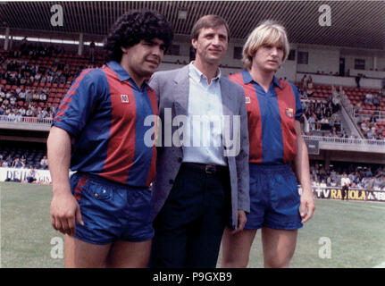 Diego Armando Maradona (1960 -), Argentine footballer, Hendrik Johannes Cruyff (1947 -), Dutch footballer, Bernd Schuster (1959), German footballer. Photograph of three players in the Camp Nou. - Stock Photo
