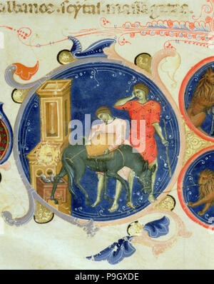 Men drinking from a fountain, Miniature from the 'Bible of Charles V of Valois', illuminated manu… - Stock Photo