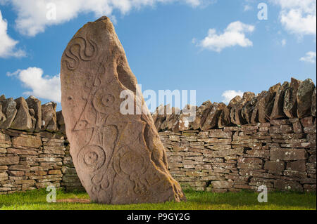 The Serpent Stone, one of three 8th century Pictish stones at the side of the B9134 at Aberlemno, Angus, Scotland.