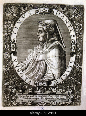 Dante Alighieri (1265-1321), Italian poet, engraving. - Stock Photo