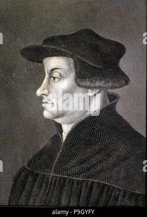 Ulrich Zwingli (1484-1531), Swiss reformer. - Stock Photo