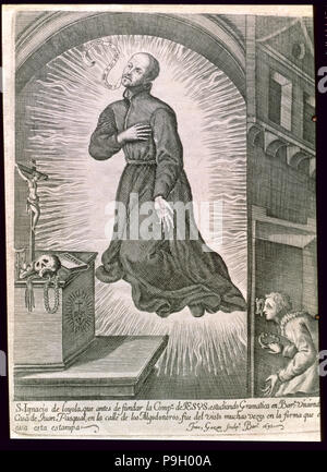San Ignacio de Loyola (Iñigo Lopez de Loyola). (1491-1556), in full levitation living in Barcelon… - Stock Photo