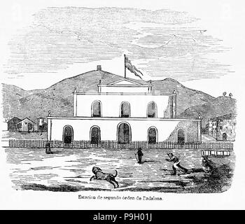 Badalona station of the railway line Barcelona-Mataró, engraving, 1849. - Stock Photo