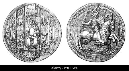 The Great Seal of Henry VII (1457 – 1509),  first monarch of the House of Tudor and King of England and Lord of Ireland from his seizure of the crown on 22 August 1485 to his death.  He attained the throne when his forces defeated King Richard III at the Battle of Bosworth Field, the culmination of the Wars of the Roses. He was the last king of England to win his throne on the field of battle. He cemented his claim by marrying Elizabeth of York, daughter of Edward IV and niece of Richard III. Henry was successful in restoring the power and stability of the English monarchy after the civil war. - Stock Photo