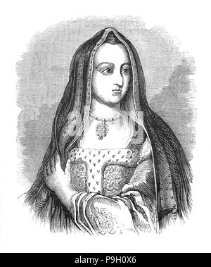 Elizabeth of York (1466 – 1503) was the wife of Henry VII and the first Tudor queen. The daughter of Edward IV and niece of Richard III, she married Henry in 1485, following the latter's victory at the Battle of Bosworth Field, which started the last phase of the Wars of the Roses. Together, she and Henry had a total of four sons, three of whom died before their father, leaving their brother, Henry VIII, to succeed his father as king. - Stock Photo