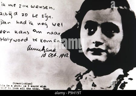 Anne Frank (Annelies Marie, called) (1929-1945), Jewish girl who died in the concentration camp of Bergen-Belsen, famous for her 'diary'. - Stock Photo