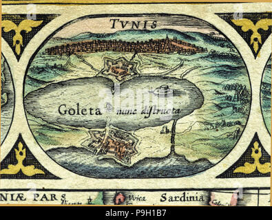 Tunisia and Goleta, colored engraving from the book 'Le Theatre du monde' or 'Nouvel Atlas', 1645… - Stock Photo