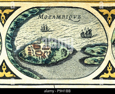 Mozambique, colored engraving from the book 'Le Theatre du monde' or 'Nouvel Atlas', 1645, create… - Stock Photo