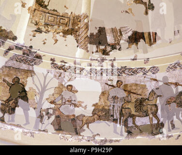 Centcelles Mausoleum. Detail of the mosaic of the dome which is one of the best examples of early… - Stock Photo