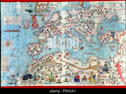 Catalan Atlas of 1375, detail of North Africa and Europe, reproduction from the Naval Museum of M…