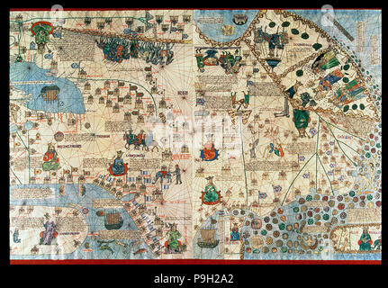 Catalan Atlas (1375), detail of Asia, reproduction from the Naval Museum of Madrid. Stock Photo