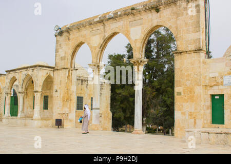 Some of the domed shrines on The Temple Mount in Jerusalem Israel. The place of the Dome of The Rock Islamic Mosque - Stock Photo