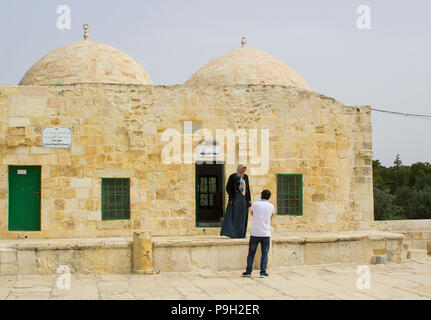 Some of the Domed Buildings on the Temple Mount Jerusalem Israel. The place of the Dome of The Rock Islamic Mosque - Stock Photo