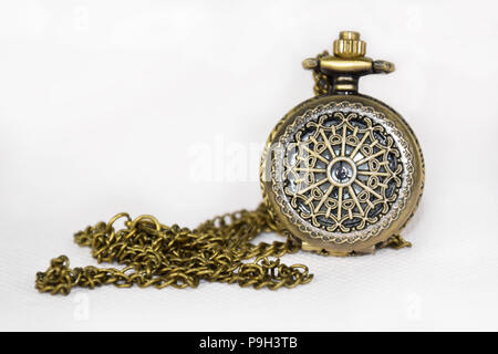 Ornamented Pocket Watch with Chain - Vintage, Antique Isolated Object, Clock - Stock Photo