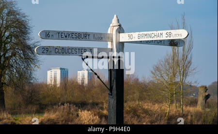 Direction sign at Diglis Junction. Where the canal meets the River Severn, Worcester, England, Europe - Stock Photo