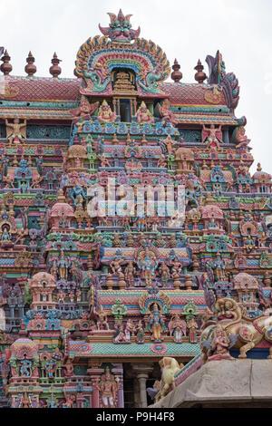 Part of an entrance gateway, or Gopuram, at the Ranganathaswamy temple at Srirangam at Trichy in Tamil Nadu, India - Stock Photo
