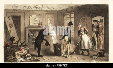 New student moving into filthy rooms in a college at Oxford University. College Comforts, a Freshman taking possession of his Rooms. Handcoloured copperplate drawn and engraved by Robert Cruikshank from The English Spy, London, 1825. Written by Bernard Blackmantle, a pseudonym for Charles Molloy Westmacott. - Stock Photo