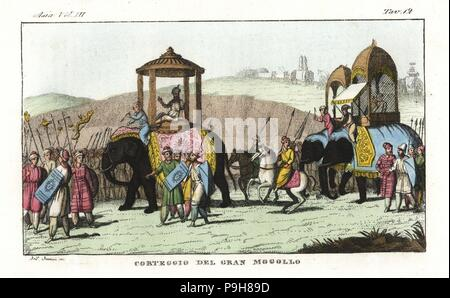 Cortege of a Mughal ruler in India. Mogul and courtiers riding in palanquins on elephants, guarded by cavalry and infantry. Handcoloured copperplate drawn and engraved by Andrea Bernieri from Giulio Ferrario's Ancient and Modern Costumes of all the Peoples of the World, Florence, Italy, 1844. - Stock Photo