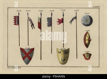 Norman weaponry: banner on lance 231, flags 232-235, infantry lance 236, infantry shields or targe 237-239 and cavalry shields 240-241. Handcoloured copperplate engraving from Robert von Spalart's Historical Picture of the Costumes of the Principal People of Antiquity and of the Middle Ages, Chez Collignon, Metz, 1810. - Stock Photo