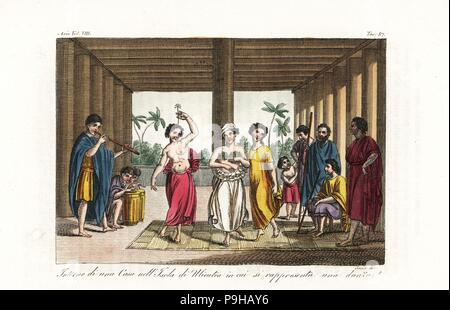 Women dancing the heiva or hula dance to drum and pipe music in a house on Raiatea island, Society Islands. Handcoloured copperplate engraved by Sasso after Giovanni Battista Cipriani and Sydney Parkinson from Giulio Ferrario's Ancient and Modern Costumes of all the Peoples of the World, Florence, Italy, 1844. - Stock Photo