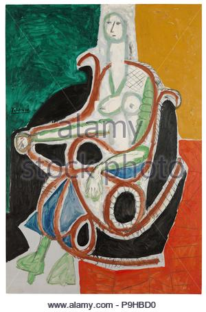 Picasso, Pablo / 'Woman in a rocking chair',1956, Oil on canvas, 195 x 130 cm. - Stock Photo