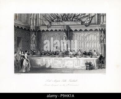 Dessert course in the Grand Banquet on November 9th at the Lord Mayor's Table, Guildhall. A wood panelled room with statues of King Edward VI, Queen Elizabeth and King Charles I. Steel engraving by J. Shury after an illustration by Thomas Hosmer Shepherd from London Interiors, Their Costumes and Ceremonies, Joshua Mead, London, 1841. - Stock Photo