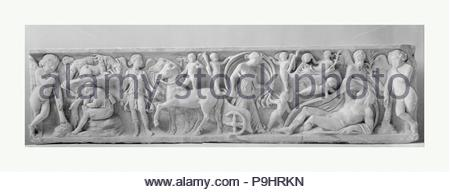 Marble sarcophagus with the myth of Endymion, Antonine, mid-2nd century A.D., Roman, Marble, Overall: 19 1/4 x 78 1/4 x 21 in. (48.9 x 198.8 x 53.3 cm), Stone Sculpture, Found on the Via Ardeatina, on the outskirts of Rome. The myth of Endymion, a beautiful shepherd who was so loved by the moon goddess Selene that she gave him eternal youth with eternal sleep, became a popular funerary motif in Roman art. - Stock Photo