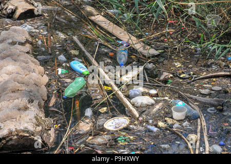 Plastic waste floats in the water at Alumot Dam. A dam on the Southern (or lower) Jordan river 3 KM south of the Sea of Galilee that essentially block - Stock Photo