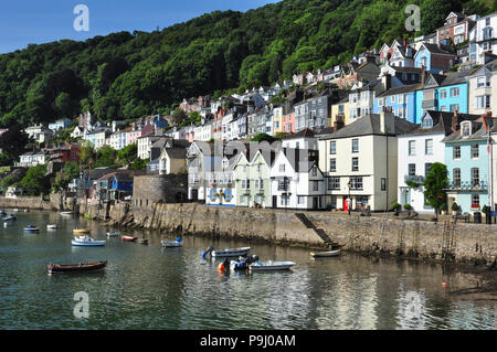 Waterfront buildings and old quay, Bayard's Cove, Dartmouth, South Devon, England, UK - Stock Photo