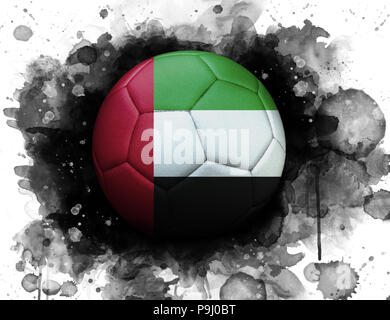 Soccer ball with flag of United Arab Emirates, close up, watercolor effect on white background. - Stock Photo
