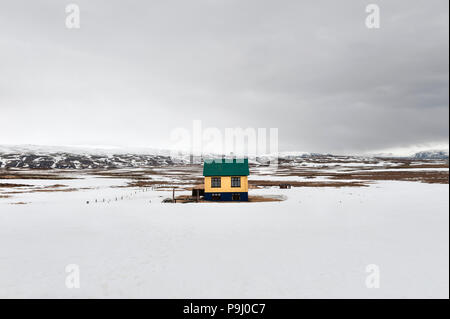 West Iceland, A solitary house in the vast empty landscape of Þingvellir National Park, north of Lake Þingvallavatn - Stock Photo