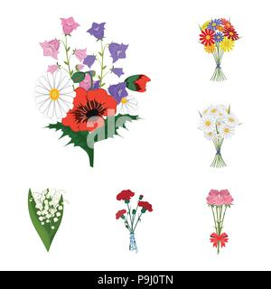 A bouquet of fresh flowers cartoon icons in set collection for design. Various bouquets vector symbol stock  illustration. - Stock Photo