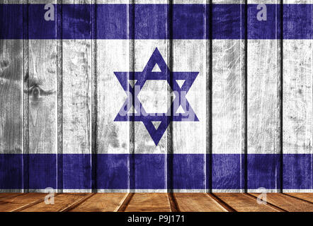 Wooden background with a flag of Israel. There is a place for your text in the photo. - Stock Photo