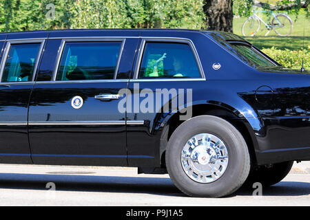 Helsinki, Finland. July 15, 2018.  First Lady Melania Trump waves from the limousine on the day of Helsinki 2018 meeting. Credit: Taina Sohlman/Alamy - Stock Photo