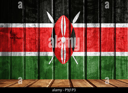 Wooden background with a flag of Kenya. There is a place for your text in the photo. - Stock Photo