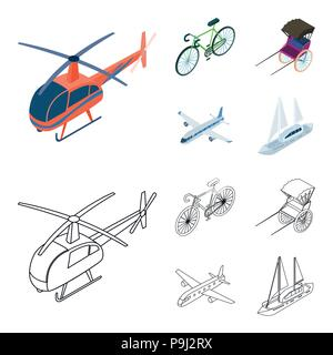 Bicycle, rickshaw, plane, yacht.Transport set collection icons in cartoon,outline style vector symbol stock illustration . - Stock Photo