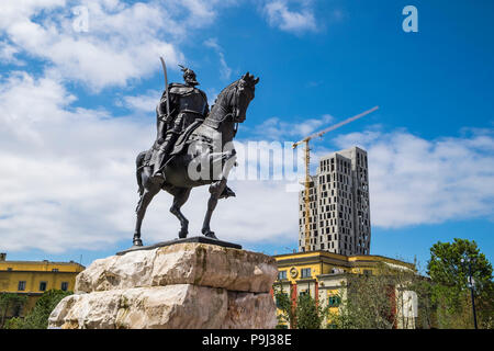 Albania, Tirana, Skanderberg main square, statue of Skanderbeg - Stock Photo