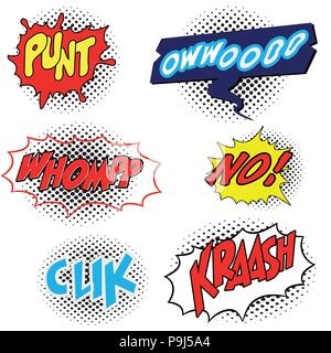 Set of Comic speech bubble with expression text, isolated on white