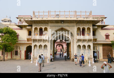 City Palace and Chandra Mahal building in Jaipur Rajasthan India - Stock Photo