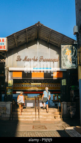 Entrance to Provencal Market in Antibes, Cote D'Azur, France - Stock Photo