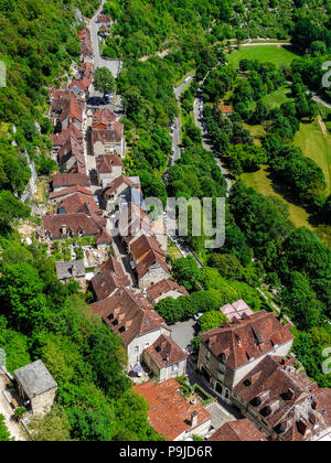 Rocamadour medieval village, aerial cityscape with sunlight - Stock Photo