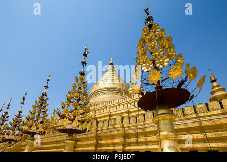 The Shwezigon Pagoda or Shwezigon Paya is a Buddhist temple located in Nyaung-U, a town in Myanmar. - Stock Photo
