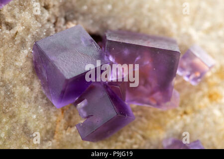 Multicolored fluorite, fluorspar mineral crystal. Photo of this sample can be used for geology science. Isolated on white - Stock Photo